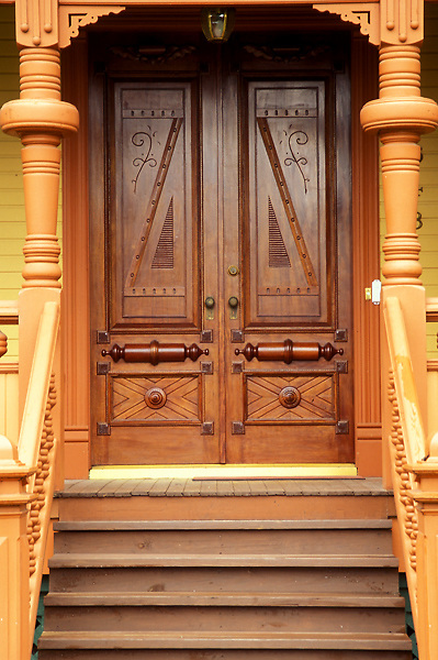Stock photo of custom door woodwork on house in Heights neighborhood, Houston, Texas
