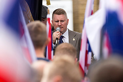 © Licensed to London News Pictures. 05/09/2015. Rotherham, UK. Picture shows the leader of Far Right group Britain First Paul Golding. Britain First held a day of action in Rotherham, the town hit the headlines when large scale grooming was uncovered & local authorities were accused of a cover up. Photo credit: Andrew McCaren/LNP