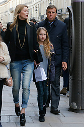Please hide the children's faces prior to the publication British supermodel Kate Moss, her daughter Lila Grace and one of Lila's friends are seen strolling on Faubourg St. Honore prior to return back to their hotel during the Fashion Week in Paris, France on March 1, 2014. Photo by ABACAPRESS.COM  | 436456_009 Paris France