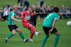 Teddy Bergqvist (FC Helsingør) presses af Mikkel Holm Jensen (Bispebjerg Boldklub) under kampen i Sydbank Pokalen, 1. runde, mellem Bispebjerg Boldklub og FC Helsingør den 2. september 2020 i Lersø Parken (Foto: Claus Birch).