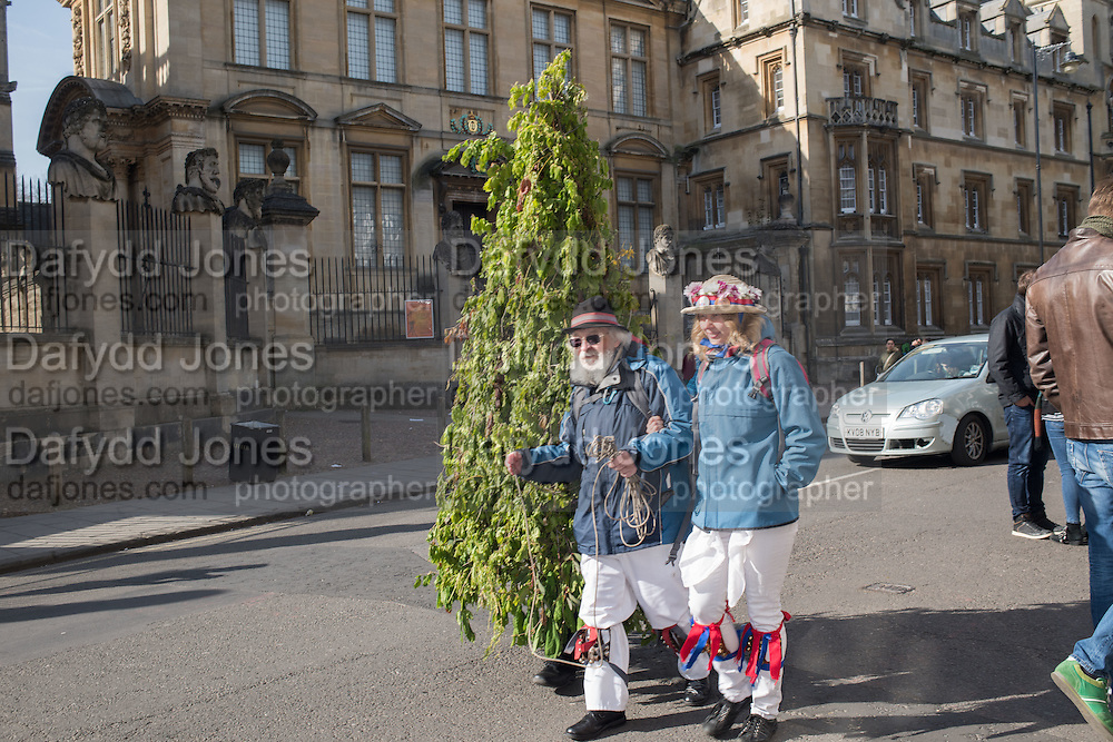 Oxford city and Oxford University Morris men, May morning, Oxford. 1 May 2016