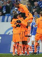 Fotball<br /> Tyskland<br /> 29.01.2011<br /> Foto: Witters/Digitalsport<br /> NORWAY ONLY<br /> <br /> 0:1 Jubel v.l. Sebastian Rudy, Isaac Vorsah, David Alaba, Ryan Babel (Hoffenheim)<br /> Bundesliga, FC Schalke 04 - TSG 1899 Hoffenheim