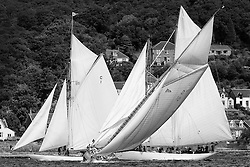 """The Lady Anne 1912 a 15 metre tacks in front  of Mariquita 1911, a 19 metre and Altair, a 1931 Schooner. <br /> Limited to ten prints in Black & White, printed on fine art paper 24""""x16"""", stamped and signed."""