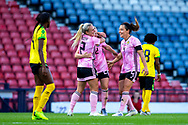 Erin Cuthbert (#22) of Scotland celebrates Scotland's first goal (1-1) with Kirsty Smith (#2) and Rachel Corsie (#4) of Scotland of Scotland during the International Friendly match between Scotland Women and Jamaica Women at Hampden Park, Glasgow, United Kingdom on 28 May 2019.