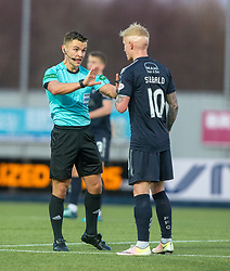 Ref Nick Walsh and Falkirk's Craig Sibbald. Falkirk 6 v 1 Dundee United, Scottish Championship game played 6/1/2018 played at The Falkirk Stadium.