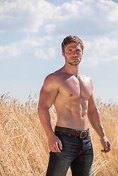 shirtless muscular man by a field