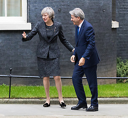 Downing Street, London, February 9th 2017. British Prime Minister Theresa May welcomes her Italian counterpart Paolo Gentiloni to 10 Downing Street.