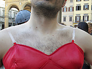 hairy breast of male person dressed up as a woman