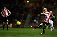 Photo. Andrew Unwin.<br /> Sunderland v Rotherham, Coca-Cola Championship, Stadium of Light, Sunderland 22/02/2005.<br /> Sunderland's Sean Thornton (R) scores his team's second goal just minutes after coming onto the pitch as a substitute for the injured Julio Arca.