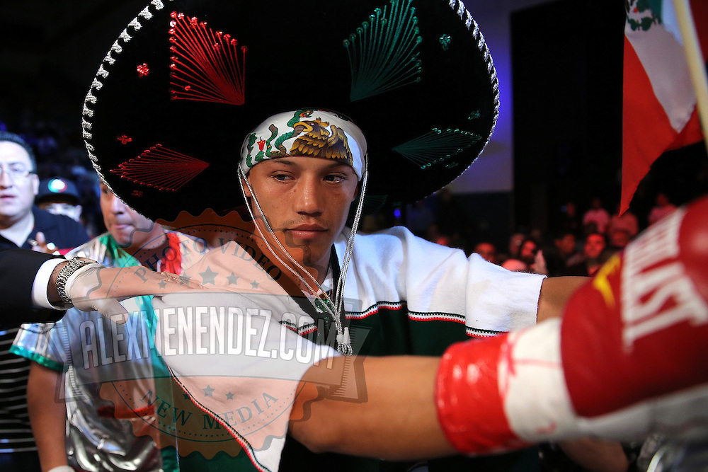 """Guillermo """"El Borrego"""" Avila enters the arena for his fight for the WBO Latin Featherweight title during the """"Boxeo Telemundo"""" boxing match between at the Kissimmee Civic Center on Friday, March 14, 2014 in Kissimmme, Florida.  Oquendo won the fight by unanimous decision. (AP Photo/Alex Menendez)"""