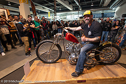 Brian Buttera with his custom Harley-Davidson Shovelhead that won him this trip to the Swiss-Moto show when he won the Rat's Hole Show in Sturgis last summer. The icing on the cake was that he won Best of Show at this Swiss Moto, which won him another trip, this time to the upcoming Custom Show Emirates in Abu Dhabi. (and Brian just got his first passport ever!) Photographed at the Swiss-Moto Customizing and Tuning Show. Zurich, Switzerland. Saturday, February 23, 2019. Photography ©2019 Michael Lichter.