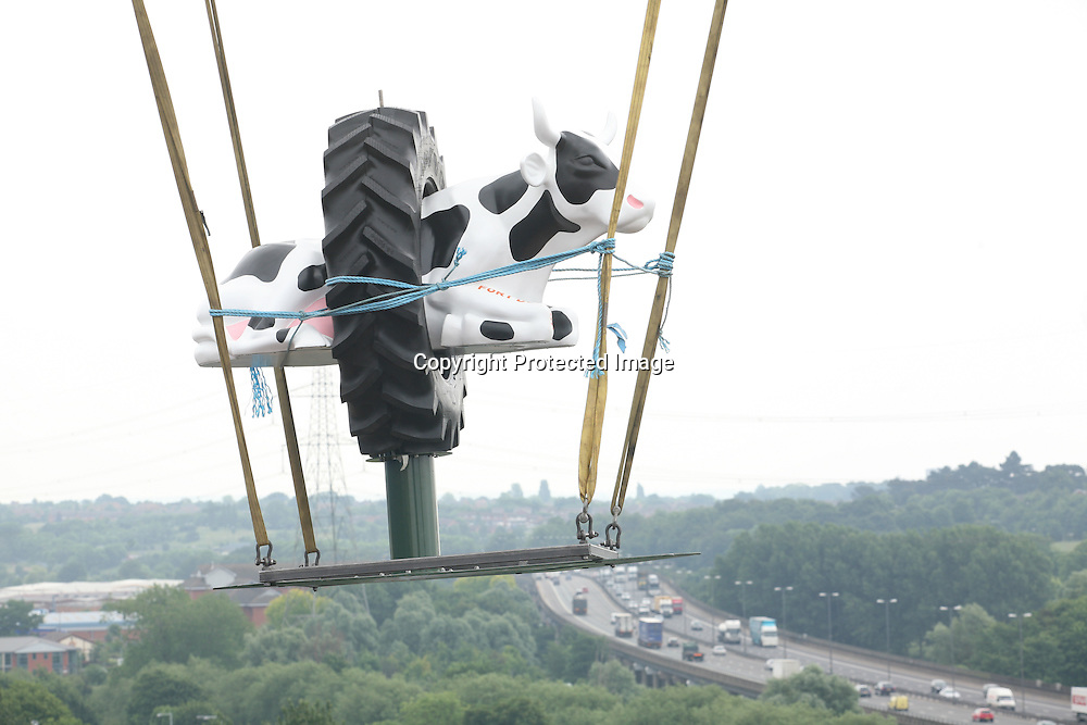Urban Splash add a plastic cow to the roof of Fort Dunlop.