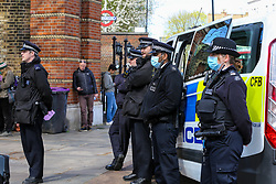 © Licensed to London News Pictures. 02/04/2021. London, UK. Police presence in Finsbury Park, north London as protesters stage a 'Kill the Bill' demonstration. The proposed Police, Crime, Sentencing and Courts Bill would give police in England and Wales more power to impose conditions on non-violent protests.  Photo credit: Dinendra Haria/LNP