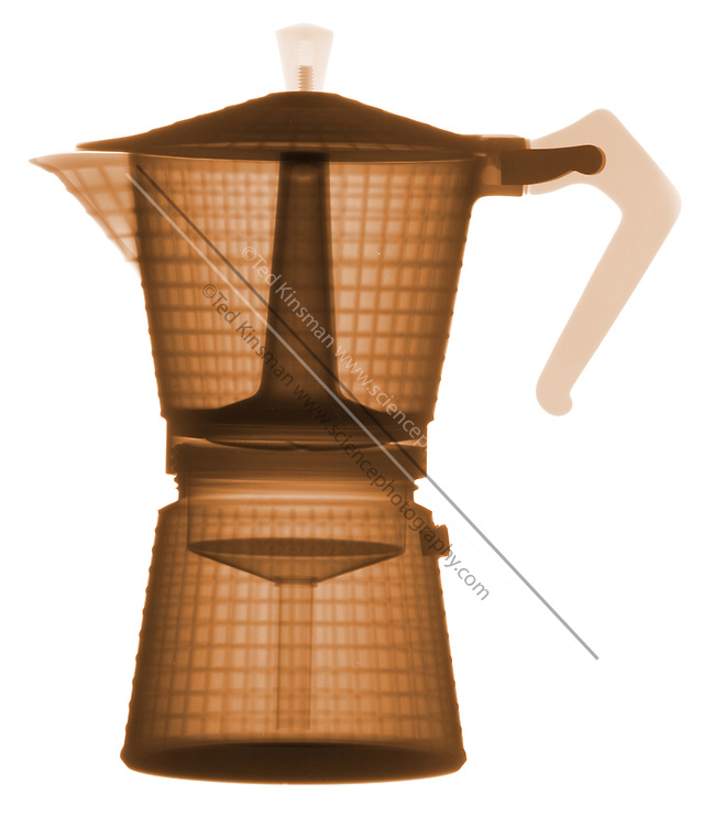 This is an antique aluminum coffee percolator. The x-ray shows the internal structures that allow the flow of water to extract the coffee flavors and percolate on a heat source. This particular design is used to make cappuccino, or a very dark coffee
