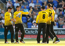 Gloucestershire's Gareth Roderick celebrates the wicket of Glamorgan's Andrew Salter<br /> <br /> Photographer Simon King/Replay Images<br /> <br /> Vitality Blast T20 - Round 8 - Glamorgan v Gloucestershire - Friday 3rd August 2018 - Sophia Gardens - Cardiff<br /> <br /> World Copyright © Replay Images . All rights reserved. info@replayimages.co.uk - http://replayimages.co.uk
