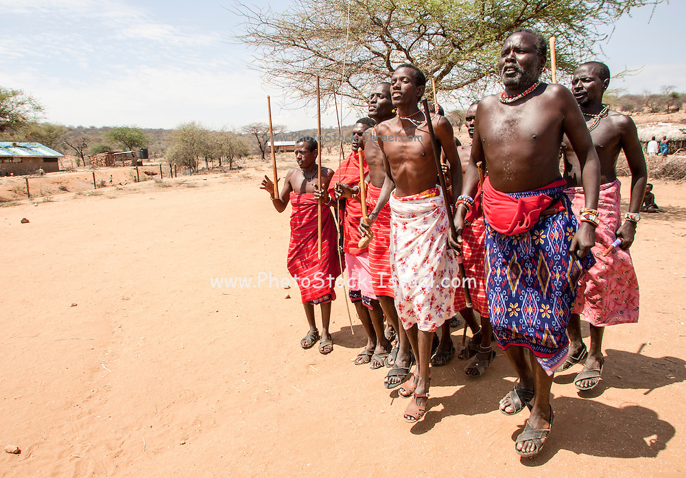 Members of the Samburu tribe in a traditional dance, Kenya