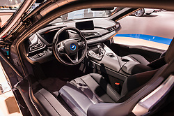 NEW YORK, USA - MARCH 23, 2016: BMW i8 interior on display during the New York International Auto Show at the Jacob Javits Center.