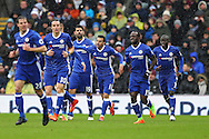 Pedro of Chelsea (c) celebrates with his teammates after scoring his teams 1st goal. Premier league match, Burnley v Chelsea at Turf Moor in Burnley, Lancs on Sunday 12th February 2017.<br /> pic by Chris Stading, Andrew Orchard Sports Photography.