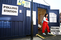 © Licensed to London News Pictures. 23/05/2019. London, UK. A voter leaves a portacabin which is used as a polling station in Haringey, north London after casting a vote in the European Parliament elections. Photo credit: Dinendra Haria/LNP