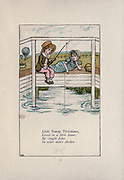 Little Tommy Tittlemouse Lived in a little house; He caught Fishes In other men's ditches from the book Mother Goose : or, The old nursery rhymes by Kate Greenaway, Engraved and Printed by Edmund Evans published in 1881 by George Routledge and Sons London nad New York