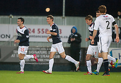 Falkirk's Stephen Kingsley cele scoring their third goal.<br /> Falkirk 3 v 1 Raith Rovers, Scottish Championship game at The Falkirk Stadium.