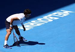 MELBOURNE, Jan. 24, 2018  Chung Hyeon of South Korea competes during the men's singles quarterfinal against Tennys Sandgren of the United States at Australian Open 2018 in Melbourne, Australia, Jan. 24, 2018. Chung Hyeon won 3-0. (Credit Image: © Li Peng/Xinhua via ZUMA Wire)