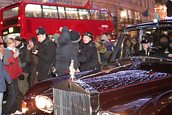 © under license to London News Pictures. 09/12/2010.  Camilla, Duchess of Cornwall and Prince Charles are pictured as student protesters surround the royal couple's car in Regent Street, London,  on 09 December 2010. The Rolls Royce carrying the couple was splattered with paint and a window is smashed. Photo credit should read Cliff Hide/LNP.