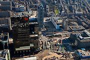 Nederland, Zuid-Holland, Rotterdam, 20-03-2009; Stationsplein, aanleg Rotterdam Centraal, nieuw station ook wel OV-terminal (of OV-knooppunt). Vervanging en uitbreiding van het oude Centraal Station was noodzakelijke omdat in de toekomst ook HSL-Zuid en RandstadRail van het nieuwe vervoersknooppunt gebruik zullen maken. Verder in beeld: het Groothandelsgebouw (rechtsonder), links van het midden hoofdkantoor Nationale Nederlanden en daar direct boven de Weena-toren.  Air view on the center of Rotterdam, the replacement and enlargement of the old Central Station of Rotterdam, in connection with the HSR. Black high-rise bulding is the head office of the assurance company Nationale Nederlanden (National Netherlands). .Swart collectie, luchtfoto (toeslag); Swart Collection, aerial photo (additional fee required).foto Siebe Swart / photo Siebe Swart