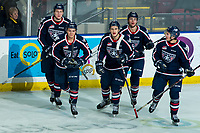 KELOWNA, BC - FEBRUARY 12: John Little #17, Bryan McAndrews #21, Tom Cadieux #9, Tyson Greenway #23 and Landon Roberts #26 of the Tri-City Americans celebrate Greenway's firstr WHL goal during third period against the Kelowna Rockets at Prospera Place on February 8, 2020 in Kelowna, Canada. (Photo by Marissa Baecker/Shoot the Breeze)