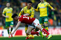 Callum O'Dowda of Bristol City battles for possession with Max Aarons of Norwich City - Mandatory by-line: Phil Chaplin/JMP - FOOTBALL - Carrow Road - Norwich, England - Norwich City v Bristol City - Sky Bet Championship