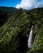 Waterfall with helicopter, Hana Coast, Maui, Hawaii