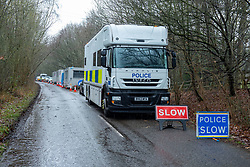 © Licensed to London News Pictures. 17/12/2019. Beaconsfield, UK. A Marine Policing Unit truck sits on Hedgeley Lane as London's Metropolitan Police Service call in the forces specialist Under Water and Confined Space Search Team as they continue to search woodland in Beaconsfield. The Met confirmed on 12th December 2019 they are searching the woodland in Beaconsfield, Buckinghamshire in connection with the disappearance and murder of Mohammed Shah Subhani. Police have been in the area conducting operations on Hedgerley Lane since Thursday 5th December 2019 and are combing wooded area with specialist officers assisted by specialist search dogs. Photo credit: Peter Manning/LNP