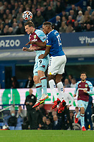 Football - 2021 / 2021 Premier League - Everton vs Burnley - Goodison Park - Monday 13th September 2021<br /> <br /> <br /> Burnley's Chris wood battles with Everton's Yerry Mina<br /> <br /> <br /> <br /> Credit COLORSPORT/Terry Donnelly