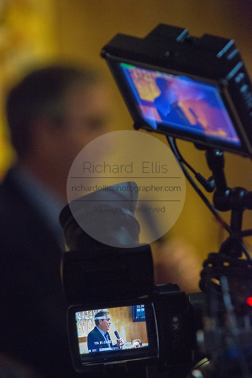 Former Florida Governor and potential Republican presidential candidate Jeb Bush seen speaking to supporters at an early morning GOP breakfast event on the television camera monitor March 18, 2015 in Myrtle Beach, South Carolina.