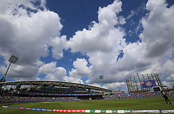 A general view of action between India and New Zealand during the ICC Cricket World Cup Warm up match at The Oval, London.