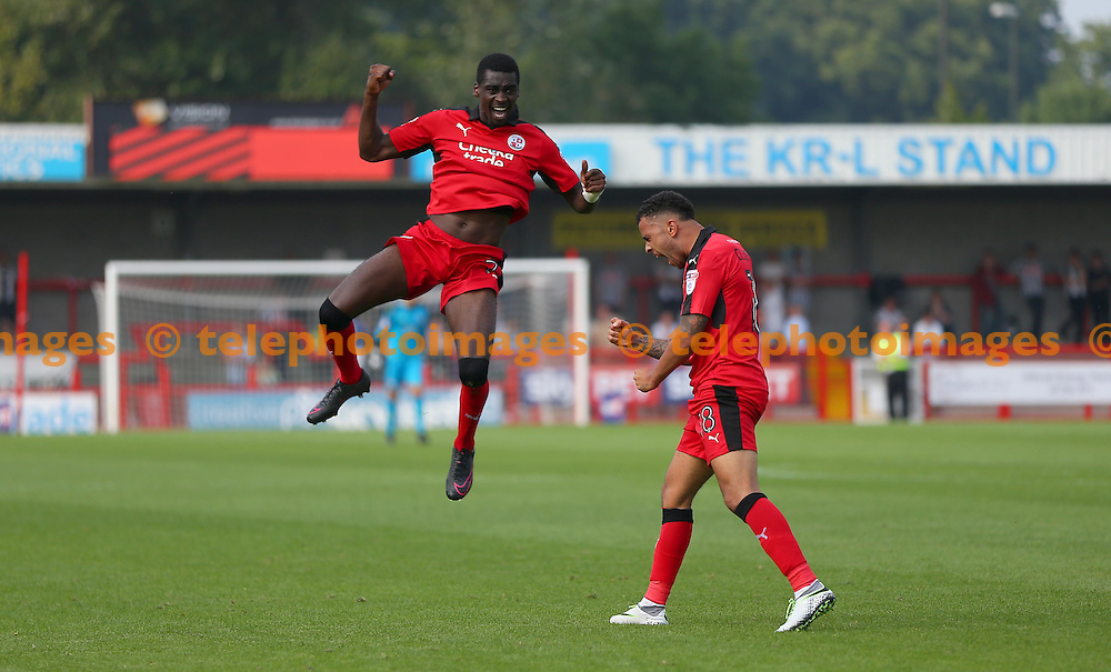 Crawley's Enzio Boldewijn celebrates after scoring during the Sky Bet League 2 match between Crawley Town and Notts County at the Checkatrade Stadium in Crawley. August 27, 2016.<br /> James Boardman / Telephoto Images<br /> +44 7967 642437