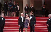 Actor Michael Fassbender, actress Marion Cotillard, and director Justin Kurzel, on the red steps at the gala screening for the film Macbeth at the 68th Cannes Film Festival, Saturday 23rd May 2015, Cannes, France.