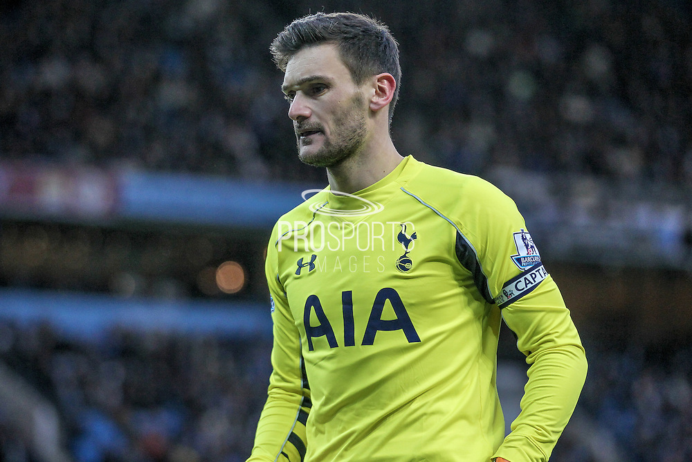 Hugo Lloris (Tottenham Hotspur) during the Barclays Premier League match between Manchester City and Tottenham Hotspur at the Etihad Stadium, Manchester, England on 14 February 2016. Photo by Mark P Doherty.
