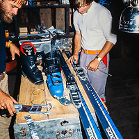 An expedition organizes equipment at Khumbu Lodge in Namche Bazar, in the Khumbu region of Nepal, 1980
