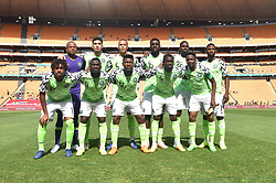SOUTH AFRICA: JOHANNESBURG: Nigeria players poses for photographs as they play against Bafana Bafana for the Africa Cup of Nations (Afcon) qualifier at the FNB stadium in Gauteng.<br />