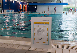 North Berwick, East Lothian, Scotland, United Kingdom, Sports Centres reopen: East Lothian Council's Enjoy Leisure sports centres reopen today with social distancing, bookable sessions and hygiene measures in place in line with the Scottish Government's guidelines in the next phase of lockdown easing, on the day that new social restrictions come into force. Pictured: the swimming pool with segregated lanes at North Berwick sports centre.<br /> Sally Anderson | EdinburghElitemedia.co.uk