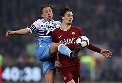 March 2, 2019 - Rome, Lazio, Italy - SS Lazio v As Roma : Serie A.Lucas Leiva of Lazio and Patrik Schick of Roma at Olimpico Stadium in Rome, Italy on March 2, 2019. (Credit Image: © Matteo Ciambelli/NurPhoto via ZUMA Press)