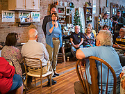 18 OCTOBER 2019 - SIGOURNEY, IOWA: US Senator AMY KLOBUCHAR (D-MN) talks to Iowans at a campaign stop in Sigourney, IA. Sen. Klobuchar is on barnstorming bus tour of southeast Iowa this weekend. She is campaigning to be the Democratic nominee for the US Presidency. In addition to campaign meet and greet events, she stopped at a biofuels plant to learn about the difficulties farmers and biofuels producers face because of the trade war with China. Iowa holds the first selection event of the Presidential election cycle. The Iowa caucuses are Feb. 3, 2020.         PHOTO BY JACK KURTZ
