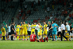 August 3, 2017 - Ljubljana, Slovenia, Slovenia - Players of NK Domzale celebrate during the UEFA Europa League Third Qualifying Round match between SC Freibur and NK Domzale at Arena Stozice on 3 rd August , 2017 in Ljubljana, Slovenia. (Credit Image: © Damjan Zibert/NurPhoto via ZUMA Press)