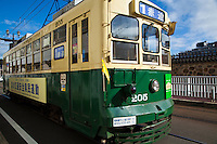 The Nagasaki Electric Tramway is a private tram system in Nagasaki. The tram line began service in 1915 and has been running ever since.  There are five routes regularly in service over one or more lines.