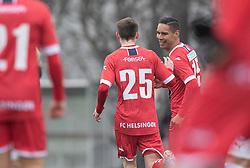 Målscorer Christopher Cortez (FC Helsingør) jubler med Dalton Wilkins efter scoringen til 1-2 under træningskampen mellem FC Roskilde og FC Helsingør den 15. februar 2020 i Roskilde Idrætspark (Foto: Claus Birch).