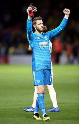 Manchester United goalkeeper David de Gea celebrates after the final whistle during the Premier League match at Vicarage Road, Watford