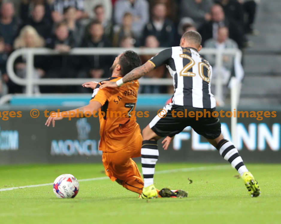 Wolverhampton Wanderers defender Silvio Sa Pereira  (3) is fouled by Newcastle United striker Yoan Gouffran (20) during the EFL Cup Third Round match between Newcastle United and Wolverhampton Wanderers at St. James' Park in Newcastle. September 20, 2016.<br /> Nigel Pitts-Drake / Telephoto Images<br /> +44 7967 642437
