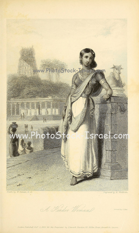 A Hindoo [Hindu] Woman From the book ' The Oriental annual, or, Scenes in India ' by the Rev. Hobart Caunter Published by Edward Bull, London 1836 engravings from drawings by William Daniell