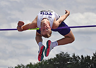 Mason Buckmaster of TCU competes in the high jump during the Big 12 Outdoor Track & Field Championship at R.V. Christian Track & Field Complex in Manhattan, Kansas.